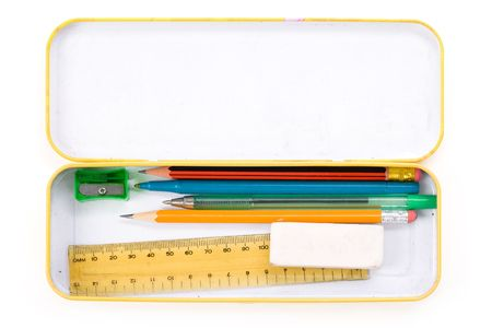 pencil sharpener: Metal pencil case with white background