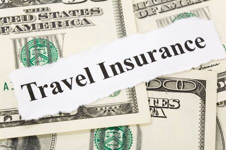 Headline of Travel Insurance for background   Banco de Imagens