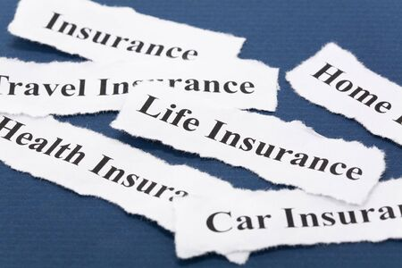 Headline of Insurance Policy, Life; Health, car, travel, home,  for background   Imagens