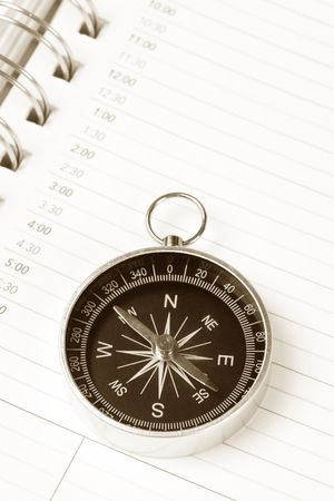 Calendar agenda and compass, concept of time Planning Stock Photo - 3588118