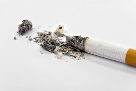 unhealthy living: A Cigarette Butt close up