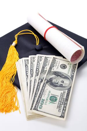 college graduation: Black Mortarboard and dollar, concept of education finance