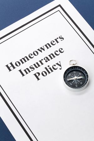 homeowners: Document of Homeowners Insurance Policy for background Stock Photo
