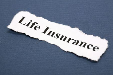 青色の背景色と生命保険の見出し