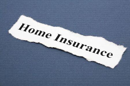 青色の背景とホーム保険の見出し