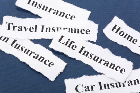 Headline of Insurance Policy, Life, Health, , travel, home,  for background   Stock fotó