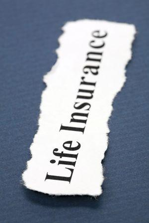 青で生命保険の見出し 写真素材