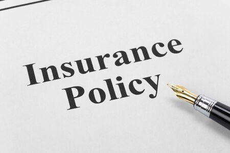 Document van verzekerings beleid, Life, gezondheid, reizen, voor achtergrond   Stockfoto