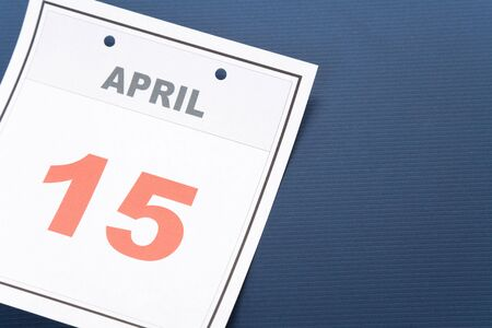 number 15: Tax Day, calendar date April 15 for background
