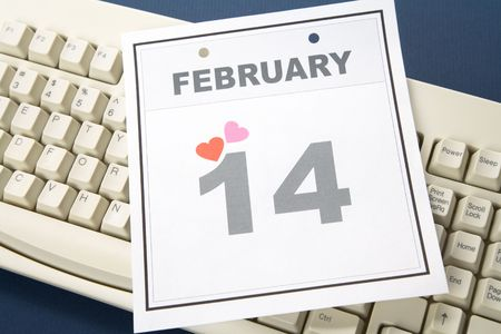 Valentine's Day, calendar date February 14 and  keyboard for background Stock Photo - 3679699