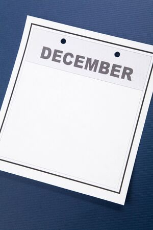 december: Blank Calendar, December, with blue background Stock Photo
