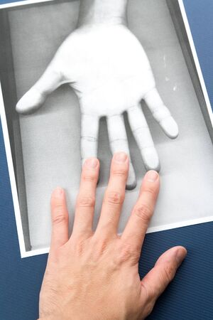 Black and white Photocopy of hand, concept of soul or spiritual communication Stock Photo - 3735506