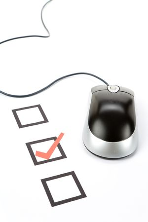 questionnaire and computer mouse, concept of online voting Stock Photo - 3793946