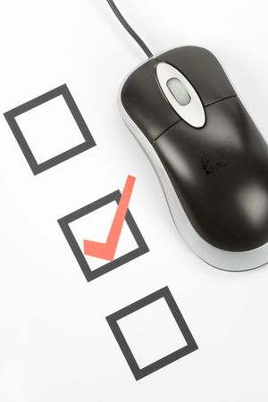 questionnaire and computer mouse, concept of online voting Stock Photo - 3793956