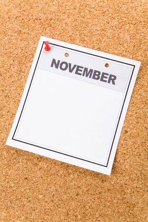 Blank Calendar, November, close up for background photo