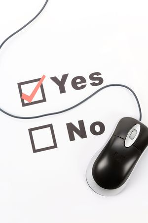 questionnaire and computer mouse, concept of online voting Stock Photo - 3808455