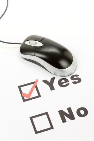 questionnaire and computer mouse, concept of online voting Stock Photo - 3838253