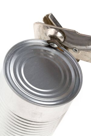 Metal Can and opener with white background photo