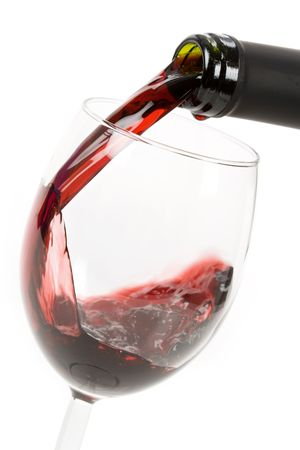 Red Wine Pouring Down to a Wineglass Stock Photo - 3853814