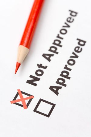 unapproved: text Not Approved close up shot for background Stock Photo