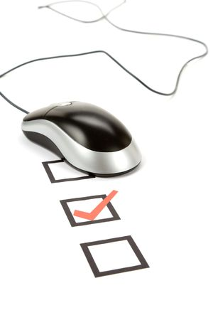 questionnaire and computer mouse, concept of online voting Stock Photo - 3869458