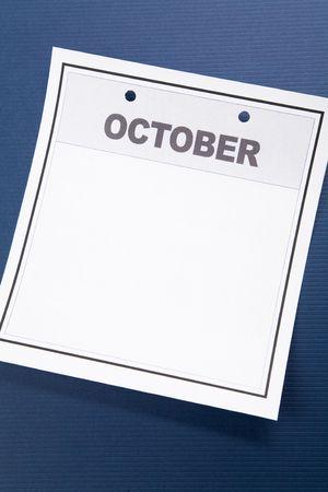 Blank Calendar, October, with blue background