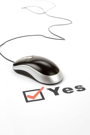 questionnaire and computer mouse, concept of online voting Stock Photo - 3906764