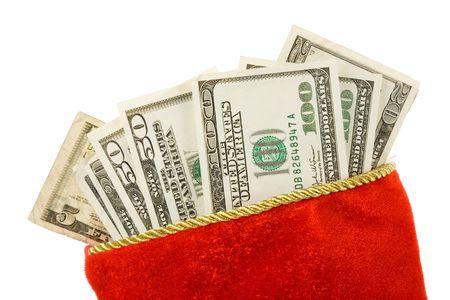 Christmas Stocking and dollars, close up Stock Photo - 3906804