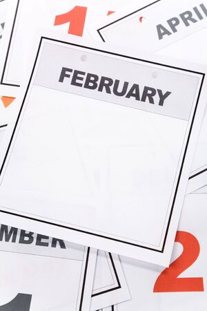 Blank Calendar, February, close up for background