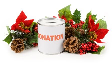 christmas decorations with white background: Christmas donation, Concept of charity