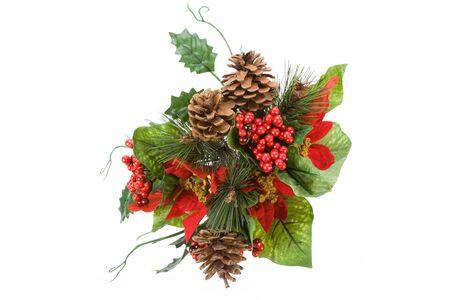 Christmas Decoration, Poinsettia, Pinecone, Holly Stock Photo - 3923588
