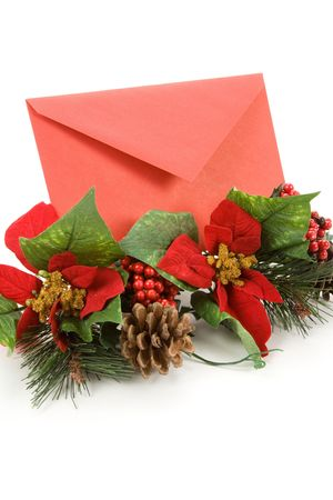 Christmas Decoration and Mail, red envelope, Greeting Card photo