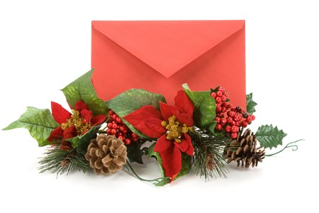 Christmas Decoration and Mail, red envelope, Greeting Card Stock Photo - 3955671