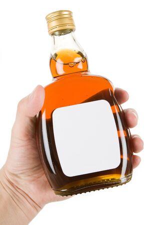 Hard Liquor Bottle with white background Stock Photo