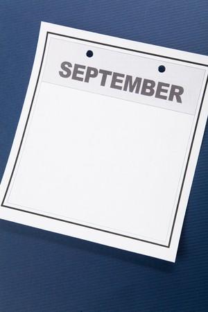 Blank Calendar, September, with blue background