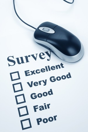 rating: questionnaire and computer mouse, business concept