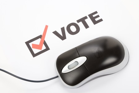 Vote and Computer mouse, Online Voting Stock Photo - 3990211