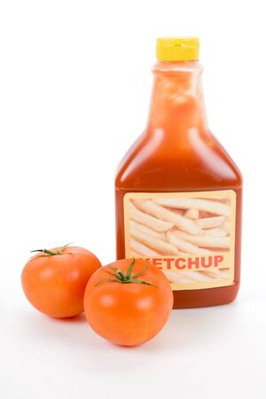 Ketchup bottle with white background Imagens