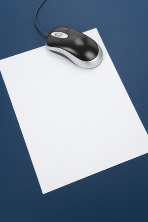 letter paper and computer mouse, concept of email