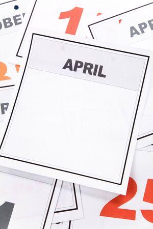 Blank Calendar, April, close up for background Imagens