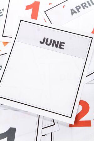 Blank Calendar, June, close up for background Imagens