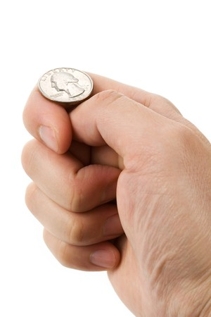 divining: flipping coin close up shot, concept of Decision Stock Photo