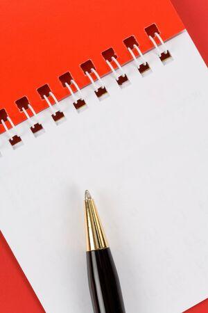 pad pen: Rojo y blanco en blanco Notas, Pen
