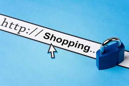 Computer Screen, concept of online shopping security 免版税图像