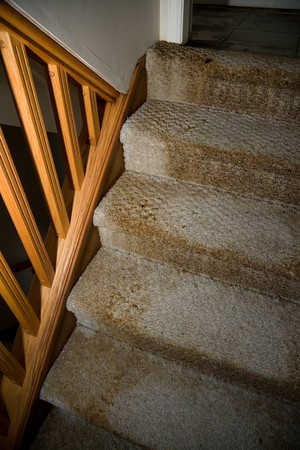 Home Interior Water leaking damaged stair and carpet Stock Photo - 4542909