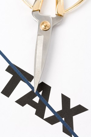 text of tax and scissors, concept of tax cut 写真素材