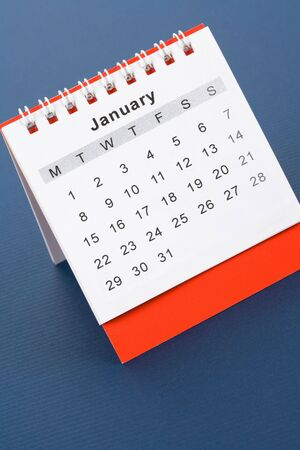 Calendar January close up with blue background