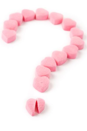 Pink Heart Shape Candy and Question Mark, Love Puzzle Stock Photo - 4610038