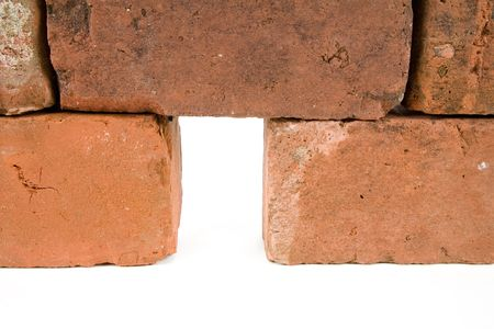 Red Brick Wall and Hole with white background photo