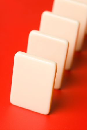 cause: Domino with red background, Concept of Cause or Teamwork
